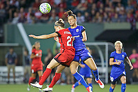Portland, OR - Saturday July 30, 2016: Maureen Fitzgerald, Carson Pickett during a regular season National Women's Soccer League (NWSL) match between the Portland Thorns FC and Seattle Reign FC at Providence Park.