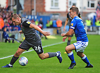 Lincoln City's Harry Anderson gets past Macclesfield Town's David Fitzpatrick<br /> <br /> Photographer Andrew Vaughan/CameraSport<br /> <br /> The EFL Sky Bet League One - Macclesfield Town v Lincoln City - Saturday 15th September 2018 - Moss Rose - Macclesfield<br /> <br /> World Copyright &copy; 2018 CameraSport. All rights reserved. 43 Linden Ave. Countesthorpe. Leicester. England. LE8 5PG - Tel: +44 (0) 116 277 4147 - admin@camerasport.com - www.camerasport.com