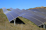 Array of solar panels on a bright sunny day, Sierra Alhamilla, near Nijar, Almeria, Spain