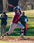 SEYMOUR,  CT-041019JS10- Seymour's Tristan Crelan (1) hits a pop fly to right field that was miss-played giving the Greyhounds a 1-0 lead during their game against Seymour Wednesday at French Memorial Park in Seymour. Naugatuck would go on to win 5-1. <br /> Jim Shannon Republican American