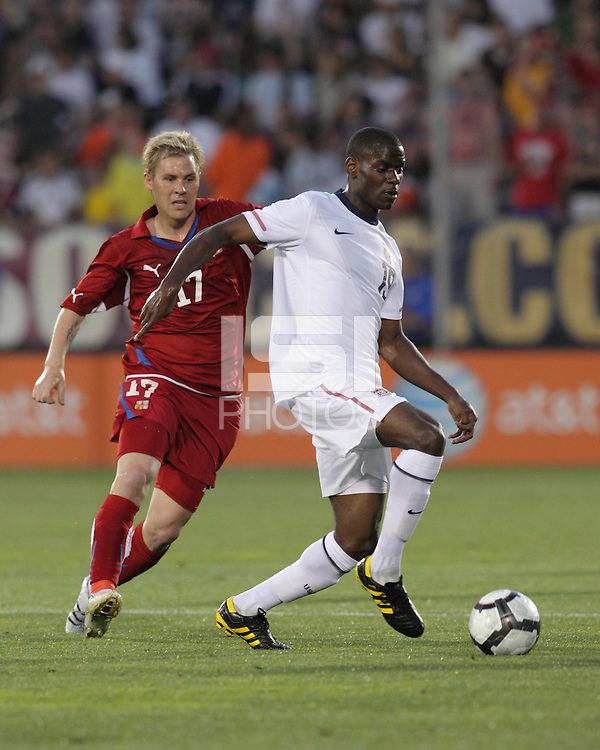 USA midfielder Maurice Edu (19) controls the ball as Tomas Hubschman (17). In the Send Off Series, the Czech Republic defeated the US men's national team, 4-2, at Rentschler Field in East Hartford, Connecticut, on May 25, 2010.