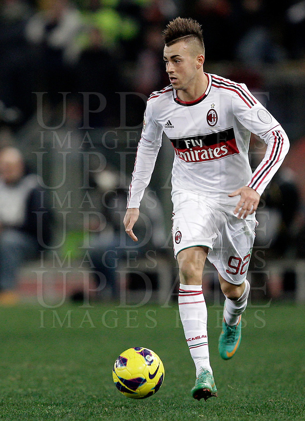 Calcio, Serie A: Roma vs Milan. Roma, stadio Olimpico, 22 dicembre 2012..AC Milan forward Stephan El Shaarawy in action during the Italian Serie A football match between AS Roma and AC Milan at Rome's Olympic stadium, 22 December 2012.UPDATE IMAGES PRESS/Riccardo De Luca