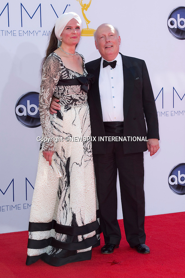 """JULIAN FELLOWES AND WIFE EMMA KITCHENER - 64TH PRIME TIME EMMY AWARDS.Nokia Theatre Live, Los Angelees_23/09/2012.Mandatory Credit Photo: ©Dias/NEWSPIX INTERNATIONAL..**ALL FEES PAYABLE TO: """"NEWSPIX INTERNATIONAL""""**..IMMEDIATE CONFIRMATION OF USAGE REQUIRED:.Newspix International, 31 Chinnery Hill, Bishop's Stortford, ENGLAND CM23 3PS.Tel:+441279 324672  ; Fax: +441279656877.Mobile:  07775681153.e-mail: info@newspixinternational.co.uk"""
