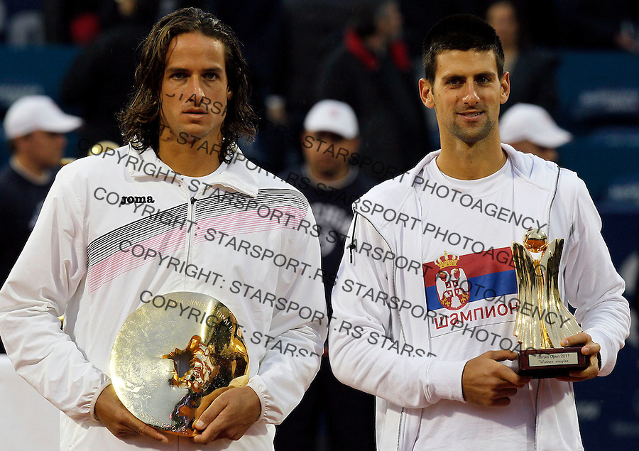Tenis, Serbia Open 2011.Final.Novak Djokovic (SRB) Vs. Feliciano Lopez (ESP).Novak Djokovic and Feliciano Lopez, poses with trophy .Beograd, 01.05.2011..foto: Srdjan Stevanovic