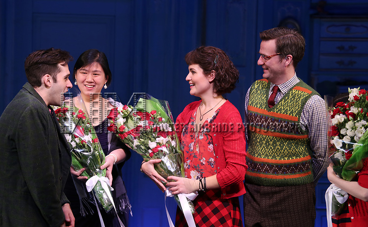 Adam Chanler-Berat, Phillipa Soo, Manoel Felciano during the Broadway Opening Night Performance Curtain Call for 'Amelie' at the Walter Kerr Theatre on April 3, 2017 in New York City