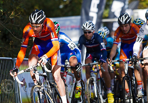 03 NOV 2012 - IPSWICH, GBR - Mathieu van der Poel (NED) (left) of the Netherlands leads competitors from the start of the Junior Men's European Cyclo-Cross Championships in Chantry Park, Ipswich, Suffolk, Great Britain (PHOTO (C) 2012 NIGEL FARROW)