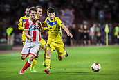 14th September 2017, Red Star Stadium, Belgrade, Serbia; UEFA Europa League Group stage, Red Star Belgrade versus BATE; Defender Filip Stojkovic of Red Star Belgrade in action against Midfielder Stanislav Dragun of FC BATE Borisov
