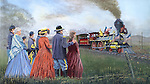 "The Lincoln funeral train passes mourners saying farewell standing by the railroad tracks. Oil on canvas, 20"" x 26""."