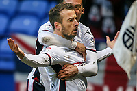 Bolton Wanderers' Adam Le Fondre celebrates scoring his side's first goal <br /> <br /> Photographer Andrew Kearns/CameraSport<br /> <br /> The EFL Sky Bet Championship - Bolton Wanderers v Fulham - Saturday 10th February 2018 - Macron Stadium - Bolton<br /> <br /> World Copyright &copy; 2018 CameraSport. All rights reserved. 43 Linden Ave. Countesthorpe. Leicester. England. LE8 5PG - Tel: +44 (0) 116 277 4147 - admin@camerasport.com - www.camerasport.com