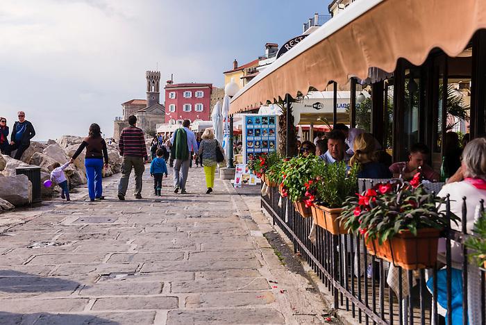 Sea front restaurant in Piran, Slovenian Istria, Slovenia, Europe