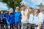 Wiktoria Kowalowka, Tara O'Donoghue, Aislinn and Ciara Faulds with Hollywood actor Michael Fassbender visiting St Bridgets Presentation Secondary School in Killarney.