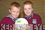 ON THE BALL: Shane McGrath and Christopher Nihill are on the ball at the Listowel Food Fair health and wellbeing event at Listowel Community Centre on Friday.