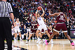 DALLAS, TX - MARCH 31:  Gabby Williams #15 of the Connecticut Huskies grabs the rebound during the 2017 Women's Final Four at American Airlines Center on March 31, 2017 in Dallas, Texas. (Photo by Justin Tafoya/NCAA Photos via Getty Images)