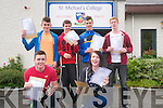 Suddents from St. Michael's College, Listowel receiving their leaving Cert results on Wednesday morning. Front : Dara Hughes & Kieran Enright. Back : John Keane, William O'Flynn, Sean Hannon & Ricky Blackburn.