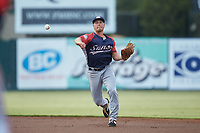 Hagerstown Suns second baseman Cole Daily (21) makes a throw to first base against the Kannapolis Intimidators at Kannapolis Intimidators Stadium on August 27, 2019 in Kannapolis, North Carolina. The Intimidators defeated the Suns 5-4. (Brian Westerholt/Four Seam Images)