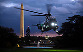 Marine One, with United States President Donald J. Trump and first lady Melania Trump aboard, lands at dusk on the South Lawn as they return to the White House, Tuesday, November 12, 2019, in Washington, DC. Trump spent a long Veteran's Day weekend in New York City.<br /> Credit: Mike Theiler / Pool via CNP