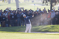 25th January 2020, Torrey Pines, La Jolla, San Diego, CA USA;  Tiger Woods hits out of a fairway bunker on the first hole during round 3 of the Farmers Insurance Open at Torrey Pines Golf Club on January 25, 2020