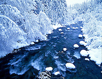 North Santiam River with snowfall.