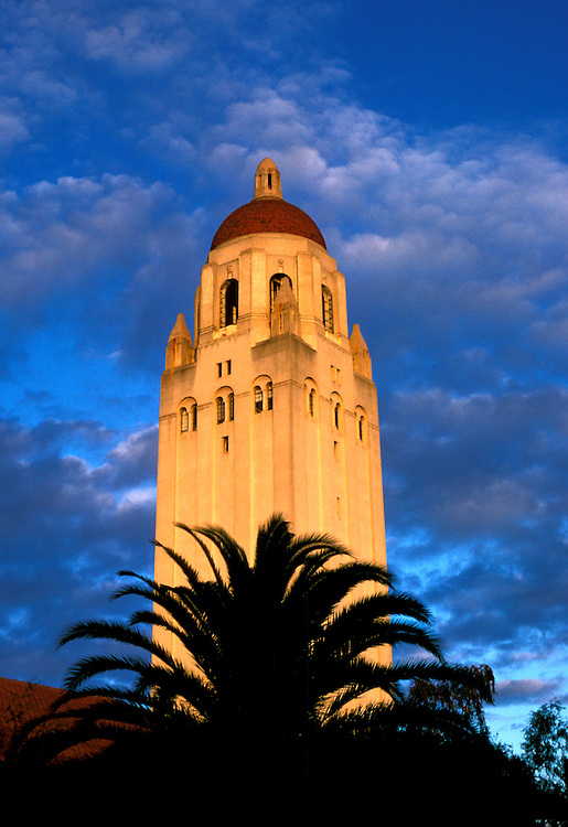 California: Stanford: Stanford University, Hoover Tower at sunset,  Photo: castan101.Photo copyright Lee Foster, 510/549-2202, lee@fostertravel.com, www.fostertravel.com