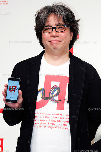 "Yugo Nakamura, Creative Director of UTme! application attends a special Uniqlo media event to promote the ""UTme!"" smart phone application on April 28, 2015. The application allows customers to upload their own designs to sell through ""UTme! Market"". Customers also can select new effects, characters and designs from Coca-Cola, Mottchy the Kakkoii-inu and fashion magazine Non-no. (Photo by Rodrigo Reyes Marin/AFLO)"