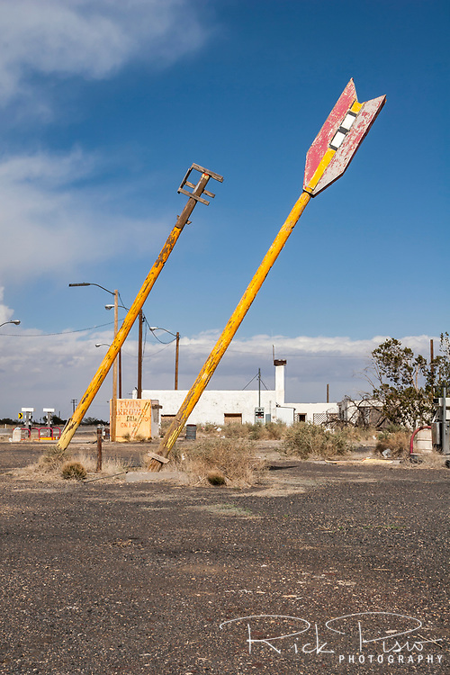 A closed trading post that once catered to Route 66 travelers sits just off of Interstate 40 at Twin Arrows, Arizona