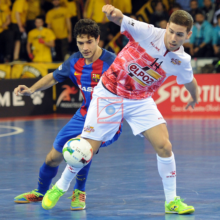 League LNFS 2016/2017 - Game 8.<br /> FC Barcelona Lassa vs ElPozo Murcia: 2-3.<br /> Roger Serrano vs Fernando.