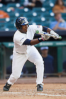 Rice Owls outfielder Leon Byrd #1 prepares to bunt during the NCAA baseball game against the North Carolina Tar Heels on March 1st, 2013 at Minute Maid Park in Houston, Texas. North Carolina defeated Rice 2-1. (Andrew Woolley/Four Seam Images).