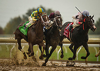 LEXINGTON, KY - OCTOBER 08: Flameaway #12 with Julien Leparoux aboard gets up to beat Tap Daddy #3 with Florent Geroux and Tigers Rule #1, and Miguel Mena in The Dixiana Bourbon Stakes at Keeneland Race Course on October 08, 2017 in Lexington, Kentucky. (Photo by Alex Evers/Eclipse Sportswire/Getty Images)