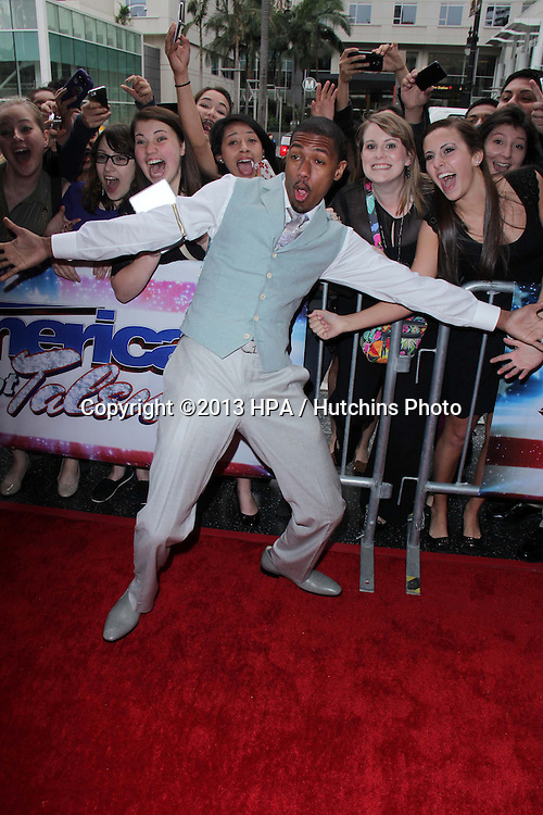 "LOS ANGELES - APR 24:  Nick Cannon arrives at the ""America's Got Talent"" Los Angeles Auditions at the Pantages Theater on April 24, 2013 in Los Angeles, CA"
