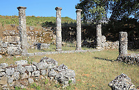 Columns and ruins of buildings at the site of Antigoneia, near Gjirokastra, Albania. Thought to be founded by King Pyrrhus of Epirus in the 3rd century BC and named in honour of his wife Antigone, the site is on a hill which was an acropolis with houses, streets and an agora. Picture by Manuel Cohen