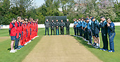 Regional Series - Knights V Warriors - Grange CC - both squads, coaches and match officials take a minute to remember and acknowledge the life of Scotland player Con de Lange  - picture by Donald MacLeod - 28.04.19 - 07702 319 738 - clanmacleod@btinternet.com - www.donald-macleod.com
