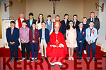 Pupils from S.N Dar Earca Valentia who made their Confirmation in the Church of St. Derarca & St. Teresa, Chapletown on Wednesday pictured here front l-r;Adam Kidd, Michéal Lynch, Philip Daly, Emmet Daly, Bishop Ray Browne, Julia Cooper, Fionn Cusack, Fionán Healy, back l-r; Fr Finucane, Dylan Kidd, Muireann Lynch, Odhran McDonough, John O'Driscoll, Jack Bryant, Colin Bryant Ben Egan & John Daly(Principal).