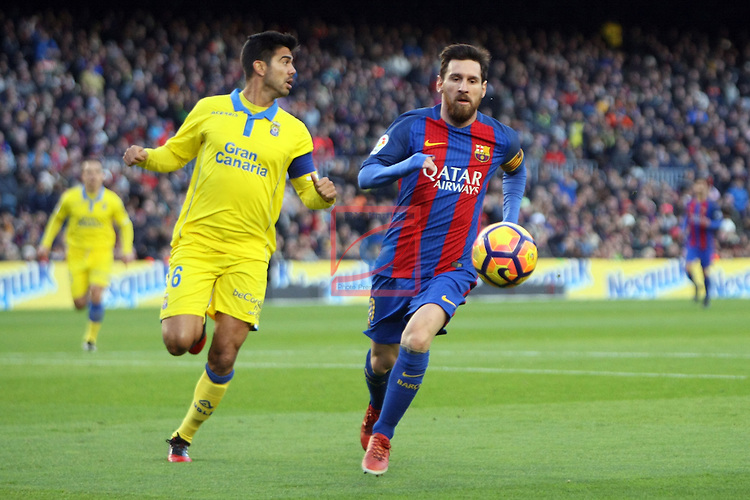 League Santander 2016/2017. Game: 18.<br /> FC Barcelona vs UD Las Palmas: 5-0.<br /> Aythami vs Lionel Messi.