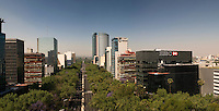 View down Reforma Ave. from the Angel of Independence. Shooting location for future bisentenial arc.  Fernando Romero