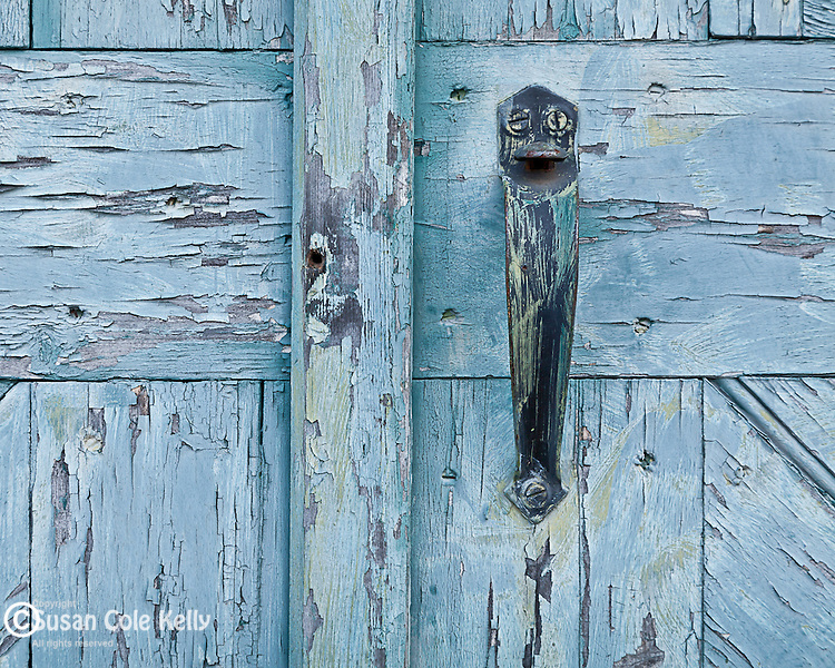 Door detail of the carriage barn at Woodlawn, the estate of Colonel John Black in Ellsworth, ME, USA