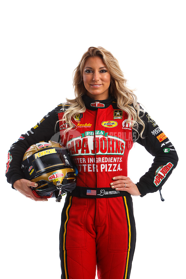 Feb 8, 2017; Pomona, CA, USA; NHRA top fuel driver Leah Pritchett poses for a portrait during media day at Auto Club Raceway at Pomona. Mandatory Credit: Mark J. Rebilas-USA TODAY Sports