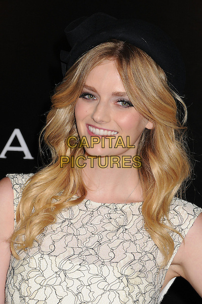 Lydia Hearst.Rodeo Drive Walk of Style 2012 held on Rodeo Dr., Beverly Hills, California, USA..December 5th, 2012 .headshot portrait black white hat pattern top .CAP/ADM/BP.©Byron Purvis/AdMedia/Capital Pictures.