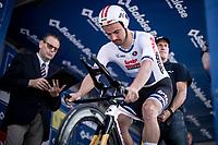 European Time Trial Champion Victor Campenaerts (BEL/Lotto Soudal) start ready. <br /> <br /> Baloise Belgium Tour 2019<br /> Stage 3: ITT Grimbergen – Grimbergen 9.2km<br /> ©kramon
