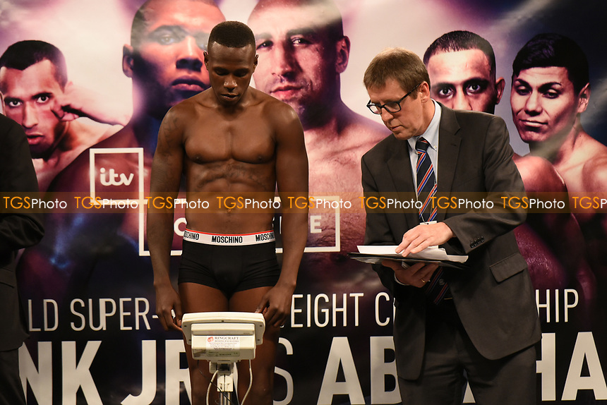 Nathaniel Wilson on the scales during a Weigh-In at the SSE Arena on 14th July 2017