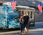 Sarina and Philipn Velasquez with their Black Ice trailer during Sizzling Saturdays Food Truck event in Sparks on Saturday, July 20, 2019.
