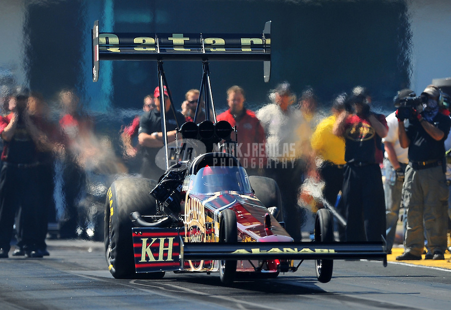 Mar. 13, 2011; Gainesville, FL, USA; NHRA top fuel dragster driver Del Worsham during the Gatornationals at Gainesville Raceway. Mandatory Credit: Mark J. Rebilas-