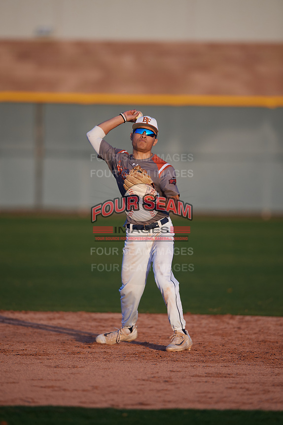 Jaden Woodson (10) of Dallas Jesuit High School in Dallas, Texas during the Baseball Factory All-America Pre-Season Tournament, powered by Under Armour, on January 13, 2018 at Sloan Park Complex in Mesa, Arizona.  (Mike Janes/Four Seam Images)