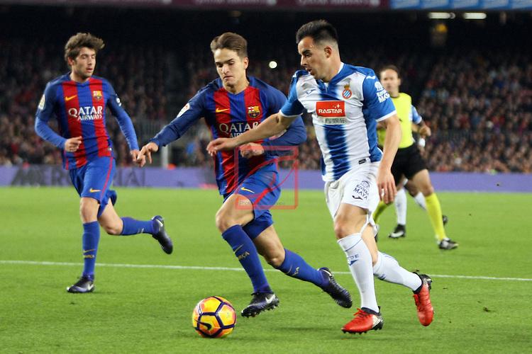 League Santander 2016/2017. Game: 16.<br /> FC Barcelona vs RCD Espanyol: 4-1.<br /> Denis Suarez vs Jose Manuel Jurado.