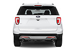 Straight rear view of a 2016 Ford Explorer XLT 4 Door SUV Rear View  stock images