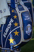 23.09.2014. Gleneagles, Auchterarder, Perthshire, Scotland.  The Ryder Cup.  Rory McIlroy's (EUR) Team Europe Ryder cup bag during the team photo call.