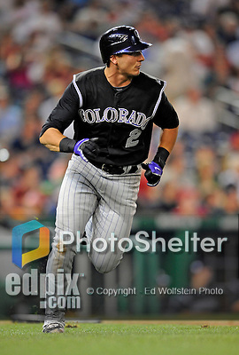 15 August 2008: Colorado Rockies' shortstop Troy Tulowitzki watches his solo home run sail over the center field wall in the third inning against the Washington Nationals at Nationals Park in Washington, DC.  The Rockies edged out the Nationals 4-3, handing the last place Nationals their 8th consecutive loss. ..Mandatory Photo Credit: Ed Wolfstein Photo