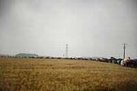 umbrellas outline the course<br /> <br /> 2014 Tour de France<br /> stage 5: Ypres/Ieper (BEL) - Arenberg Porte du Hainaut (155km)