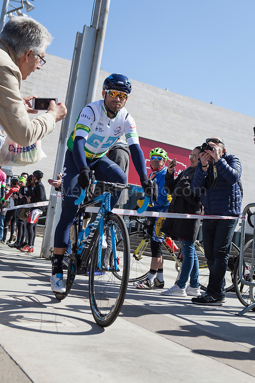 Race leader Alejandro Valverde  at sign-on of Stage 3 of the Volta Catalunya 2018. The cycle race departs from Sant Cugat del Valles, en route to Camprodon - shortened from its planned finish at Vallter 2000 due to avalanche risk. departs from Sant Cugat del Valles, en route to Camprodon -