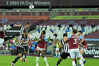 Andy Carroll of Newcastle United heads over  during West Ham United vs Newcastle United, Premier League Football at The London Stadium on 12th September 2020