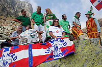 Pian del Re: gente partecipa alla festa dei popoli padani organizzata dalla Lega Nord per il rito dell'ampolla alle sorgenti del Po.